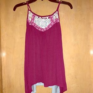 Maroon/Lace Tank Top